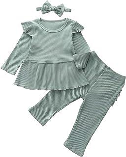 Newborn Baby Girl Fall Outfits Solid Color Ruffle Long Sleeve Shirt Top + Long Pants + Headband Pajamas Clothes Set