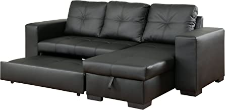 Furniture of America Charlton Contemporary Corner Sectional with Pull-Out Sleeper, Black