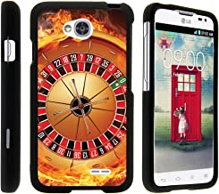 TurtleArmor | Compatible with LG Optimus L70 Case | LG Ultimate 2 Case | LG Exceed 2 [Slim Duo] Ultra Compact Hard Snap On Case Slim Matte Cover on Black Gamble Casino - Fire Roulette