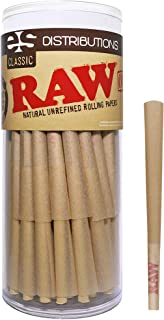 RAW Cones Classic Lean Size | 50 Pack | Natural Pre Rolled Rolling Paper with Tips & Packing Sticks Included