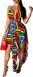 IyMoo Women's Halter Neck Spagehtti Strap Backless Bandage Printed High Low Beach Party Maxi Dress