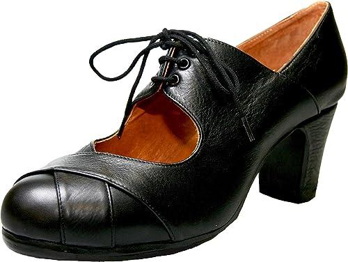 Menkes Chaussure de Flamenco Modèle Débutant Calé Cuir avec Clous pour Femme Taille 38 Noir
