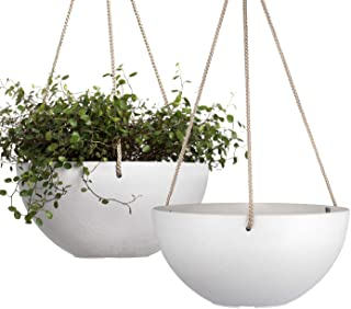 White Hanging Planter Basket - 10 Inch Indoor Outdoor Flower Pots, Plant Containers with Drainage Hole, Plant Pot for Hang...