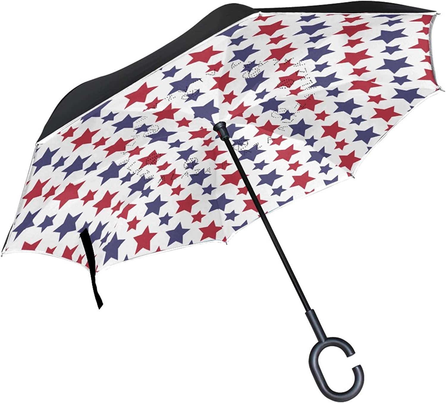 MASSIKOA Red blueee Stars Ingreened Double Layer Straight Umbrellas Inside-Out Reversible Umbrella with C-Shaped Handle for Rain Sun Car Use