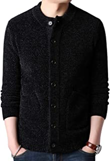 Men's Vintage Round Neck Button Front Chenille Knitted Cardigan Sweater