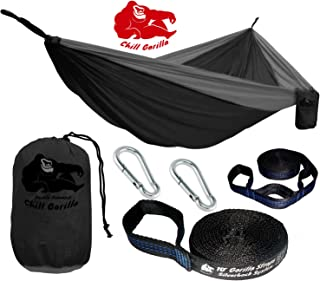 Chill Gorilla Double Hammock with Tree Straps. Perfect for Backpacking Camping Travel Beach Yard. Easy Setup. 126