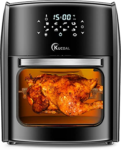 8 in 1 Air Fryer, 13QT Air Fryer Oven with Digital Touch Screen, Toast, Bake, Roast, Rotisserie, Hot Oven Oilless Cooker, 1700W Electric Toaster Oven with Dehydrate, 7 Accessories & 50 Recipes