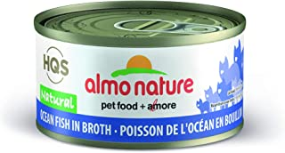 Almo Nature HQS Natural Ocean Fish IN Broth Grain Free High Protein Wet Canned Cat Food (24 Pack of 2.47 oz/70g Cans)
