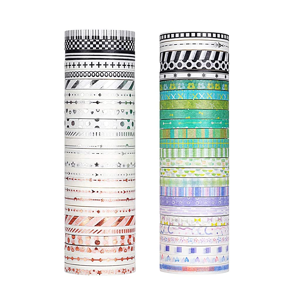 Molshine 50rolls Washi Masking Tape Set,Adhesive Paper,Cute Tape for DIY,Planners,Scrapbooking,Object Beautification,Home Furnishing Decor,Party,Gift Wrapping-Basic Border Series(Width:5mm)