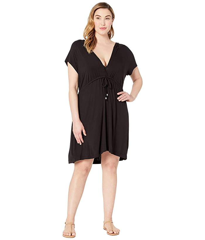 DOTTI Plus Size Paradise Solids Dress Cover-Up (Black) Women