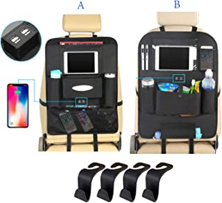 Yinleader Back Seat Car Organizer with Tablet Holder and 4 USB Charging Port Car Organizer for Kids Baby Toddlers Toy Bottles Storage Foldable Dining Table Family Road Trip Travel Accessories