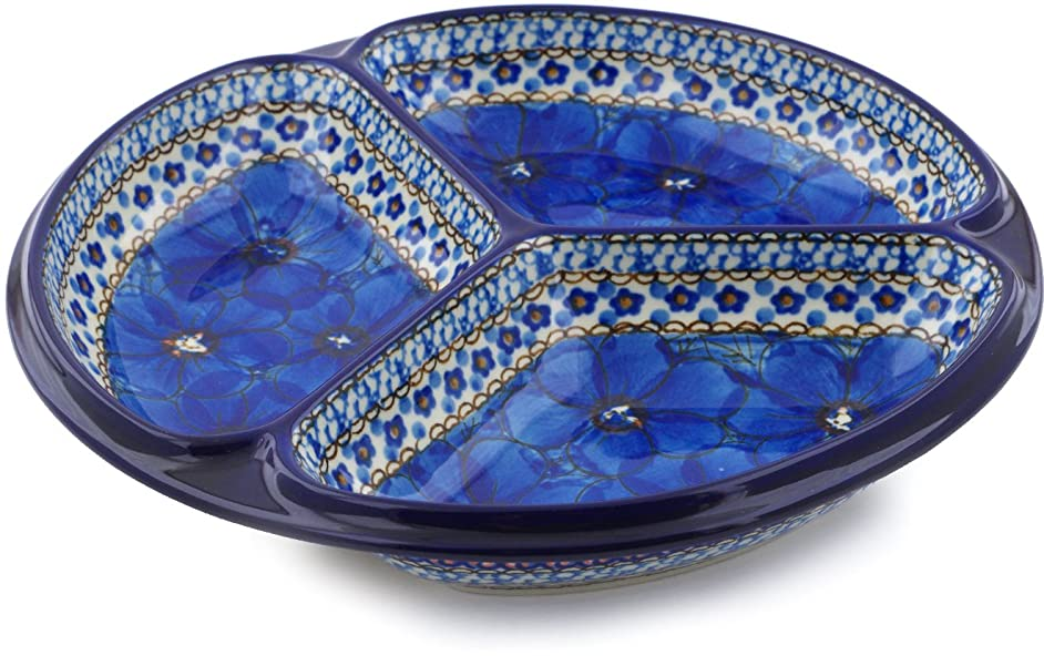 Polish Pottery 10-inch Divided Dish made by Ceramika Artystyczna (Cobalt Poppies Theme) Signature UNIKAT + Certificate of Authenticity