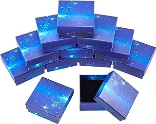 SUPERFINDINGS 16個 ギフトボックス ブルー 星空 アクセサリーケース ラッピングボックスセット 紙ボックス プレゼント ジュエリー収納 包装 正方形 小箱 紙箱 スポンジ付き 包装贈り物