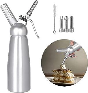 upstartech Siphon Chantilly Professionnel 500ml, Siphon à Crème Siphons de Cuisine avec 3 Douilles en Acier Inoxydable et ...