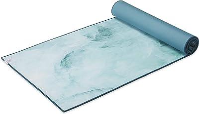 "Gaiam Yoga Mat - Hot Yoga Towel Mat, Mositure-Wicking Microfiber Topcoat & Yoga Mat Backing, Seafoam, 68"" L x 26"" W x 5mm Thick"