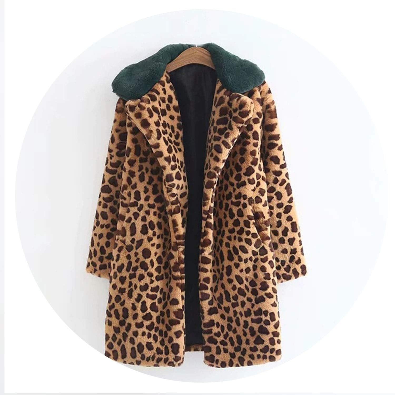 I'll NEVER BE HER Women Winter Warm Thick Coat Leopard Print Lamb Cashmere Lapel et Cardigan