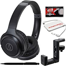 Audio-Technica ATH-S200BT Bluetooth Wireless On-Ear Headphones (Black) with Headphone Hanger + Portable Charger + Kit