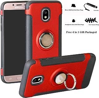 Galaxy J7 2017 / J730 /J7 Pro case,Labanema Hybrid Dual Layer 360 Degree Rotation Ring Holder Kickstand Armor Slim Protective Cover for Samsung Galaxy J7 2017 / J730 /J7 Pro - Red