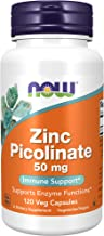 NOW Supplements, Zinc Picolinate 50 mg, Supports Enzyme Functions, Immune Support, 120 Veg Capsules