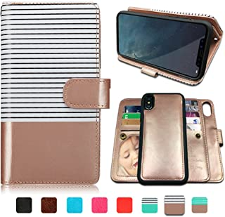 CASEOWL iPhone X Case,iPhone Xs Case Wallet with Magnetic Detachable Case,9 Card Slots,Wrist Strap, 2 in 1 Folio Flip Premium PU Leather Wallet Case for iPhone X/XS/10/10s 5.8 inch (White&Rose Gold)