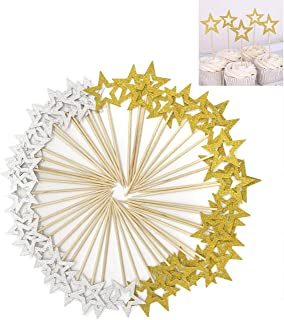 50 Pcs Star Cupcake Toppers,Star Cupcake Toppers Twinkle Little Star Decorations Birthday Cupcake Toppers Glitter Star Cake Decorations for Party Birthday Wedding Ceremony (50 PCS Gold & Silver Star)