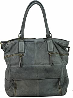 BZNA Bag Boney Grau grey Italy Designer Damen Handtasche Ledertasche Schultertasche Tasche Leder Shopper Neu