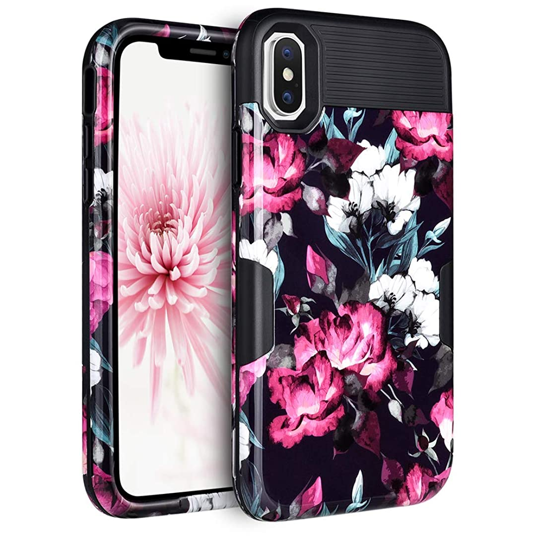 Maxdara Case for iPhone Xs Max Shockproof Case Heavy Duty Full-Body Protection Flower Rose Floral Girls Cherry Blossom with Back Hard Durable Hybrid Three Layer Sturdy Pretty XS Max Case 6.5 inch