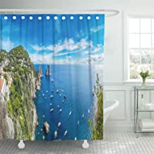 Jszna Shower Curtain Green Aerial Capri Island in Beautiful Summer Day Italy Shower Curtains Sets with 12 Hooks 72 x 72 Inches Waterproof Polyester Fabric