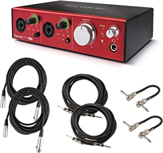 Focusrite Clarett 2Pre USB 10-In/4-Out Audio Interface Bundle with 2 XLR Cables, 2 Instrument Cables, and 2 MXR Patch Cables