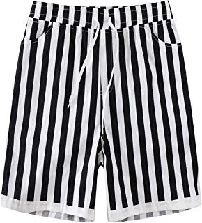 Mens Casual Striped Shorts Classic Fit Lightweight Summer Drawstring Beach Shorts with Pockets