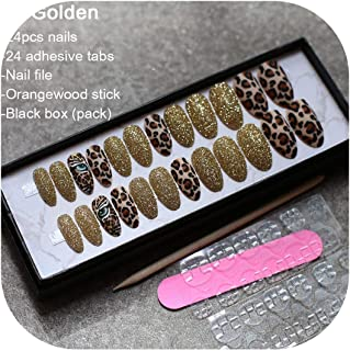 Matte tiger Nail Acrylic Fake nail black box Leopard Accent Press on Nails coffee flash stiletto false nails brown glitter Gold,A-Gold box