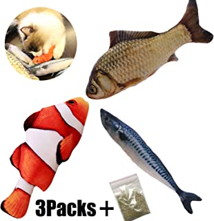 MS hong Cat Toys Interactive Simulation Fish Shape Realistic Fluffy Catnip Toys Pets Pillow Chew Bite Supplies for Cat Kitten Kitty