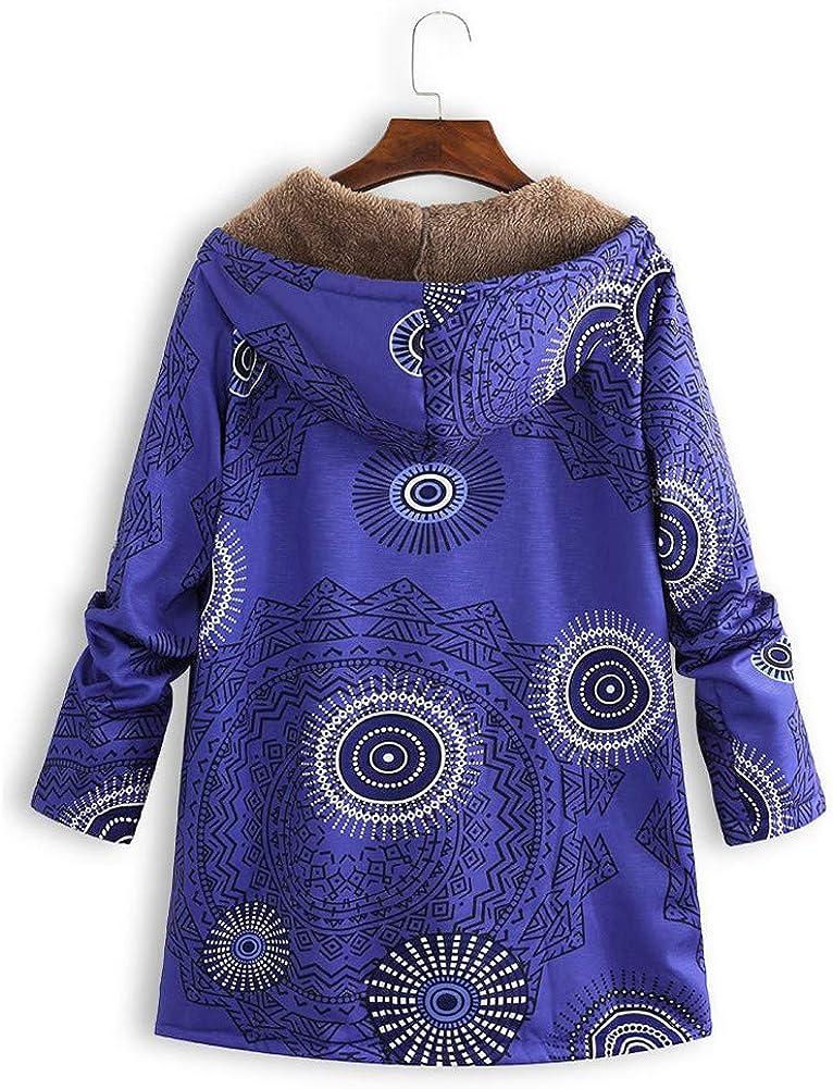 Yowablo Kapuzenpullover Damen Kapuzen Winter Hoodie Blumendruck Plus Size Plüsch Warme Taschen Langarm Jacke 2- Blau