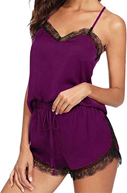 Women Satin Pajamas Set Silk Lace Sleepwear Cami Nightwear Shorts Lingerie 2 Pcs Pajamas (S, Purple)
