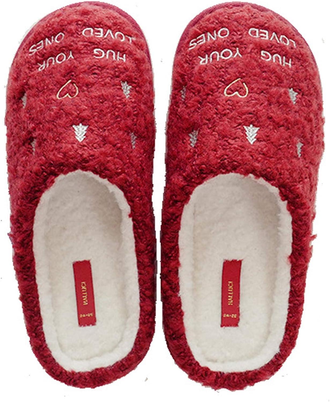 Winter Women's Slippers Waterproof Warm Anti-Slip Christmas Style Comfortable Red House Bedroom Slipper