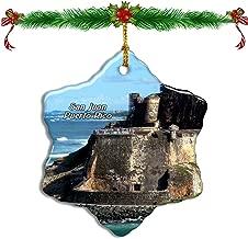 Fcheng San Juan National Historic Site Puerto Rico Christmas Ceramic Ornament Tree Decor City Travel Souvenir Double Sided Snowflake Sublimation Porcelain Hanging Ornament