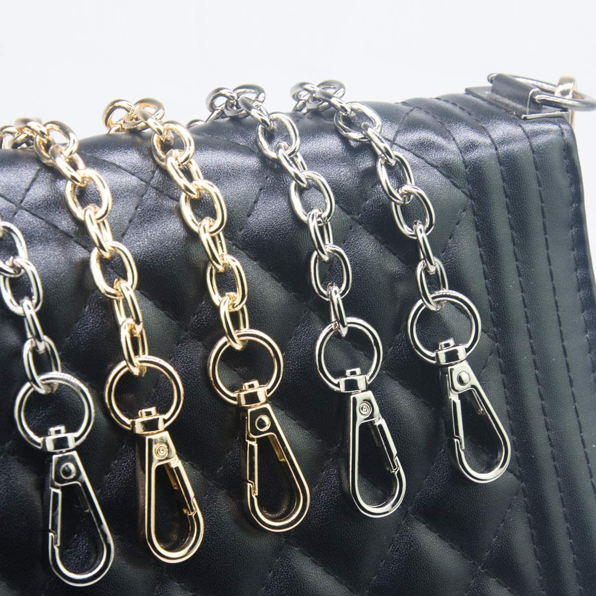 Gold Chains Accessories Clutches Handles 2-Pack 23.6 Long Replacement Straps for Purses or Handbag SUPXINJIA Handle Chain Strap