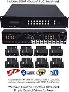8x16 HDbaseT 4K Matrix SWITCHER 8x8 16x16 with 8 Receivers (CAT5e or CAT6) HDMI HDCP2.2 HDTV Routing SELECTOR SPDIF Audio CONTROL4 Savant Home Automation 4K2K