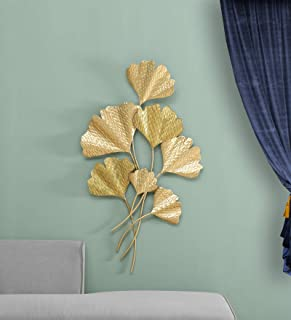 Vedas Exports Gold Iron ANAM Leaf Wall Decorative Hanging & Mounted Art Sculpture Home Living Room Decor (Size 28 x 47 inc...