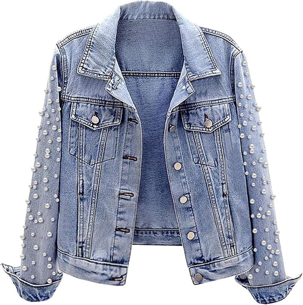 Excellent SCOFEEL Women's Same day shipping Oversized Distressed Denim Pearls Jacket with