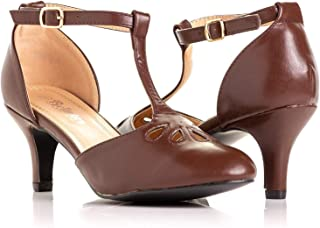 Women's Jamie-01 Vintage Round Toe T-Strap Mary Jane Costume Dress High Heel Swing Shoe with Sexy 3