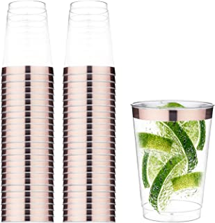 TOROTON 50 Transparent Cups with Rose Gold Rim, 12oz Recyclable Clear Drinking Tumblers, for Wedding Party Birthday Dinner...