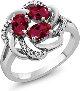 Gem Stone King 925 Sterling Silver Red Created Ruby Flower Blossom Ring 1.87 Ctw Oval (Available 5,6,7,8,9)