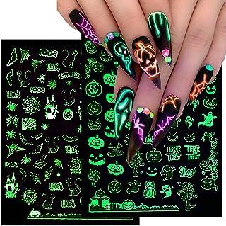 برچسب هالووین ناخن 3D درخشان هالووین ناخن چسب ناخن استیکر ناخن لوازم هنری برچسب هالووین طراحی ناخن ناخن هالووین جمجمه شبح کدو تنبل عنکبوتی خالص تزئین ناخن 6