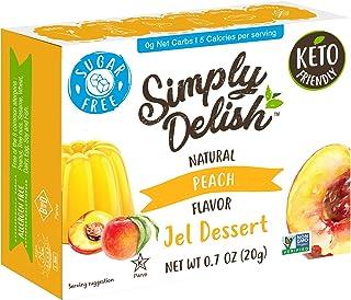 Simply Delish Natural Peach Jel Dessert - Sugar Free, Non GMO, Gluten Free, Fat Free, Lactose Free, Keto Friendly - 0.7 OZ...