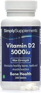 Vitamina D2 5000iu Extra Fuerte - ¡Bote para 1 año! - Apto para veganos - 360 Comprimidos - SimplySupplements