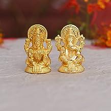 Collectible India Metal Laxmi Ganesh Idol Set - Gold Plated Lakshmi Ganesha Idols Statue for Diwali Decoration Home Office...