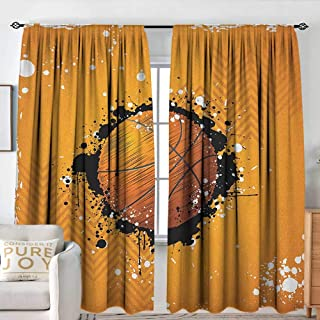 Basketball Thermal/Room Darkening Window Curtains Basketball and Paint Splashes on Abstract Grungy Background Sport Theme Print Energy Efficient, Room Darkening W 96