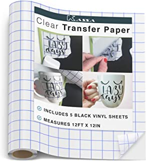 "Kassa Vinyl Transfer Tape Roll (12"" x 12 Feet) - 5 Black Vinyl Sheets Included - Clear Vinyl Transfer Paper for Cricut & Silhouette Cameo (w/Perfect Alignment Grid) - Medium Tack"