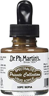 Dr. Ph. Martin's Spectralite Private Collection Liquid Acrylics (33PC) Arcylic Paint Bottle, 1.0 oz, Sepia, 1 Bottle